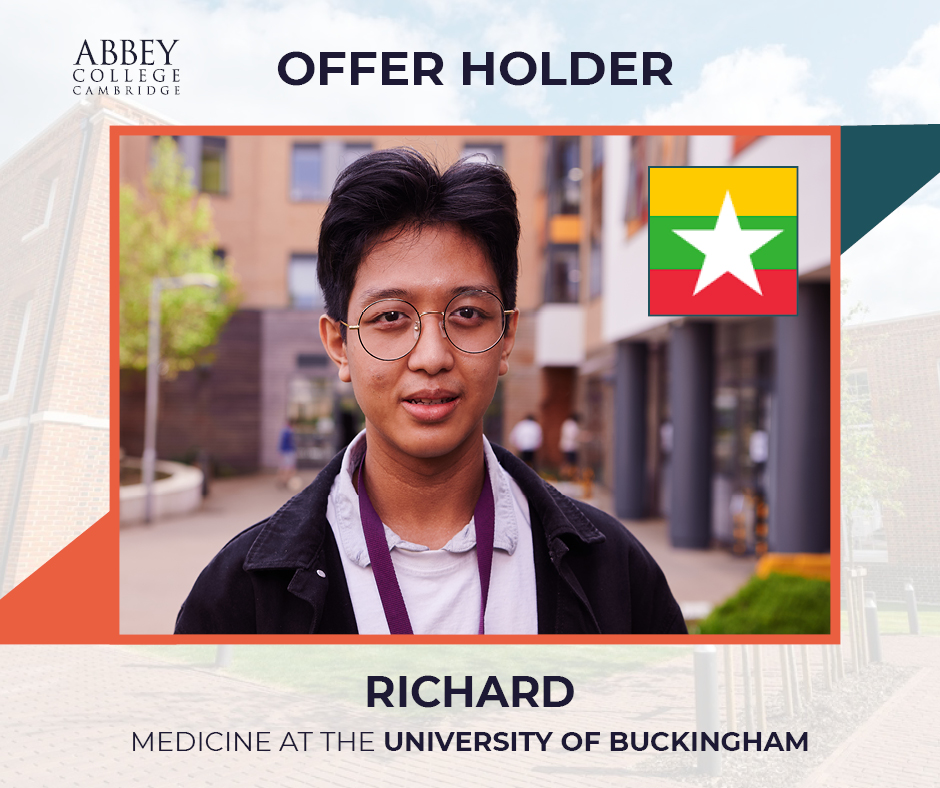Many congratulations to Richard from Myanmar who has just finished studying his A Levels, another aspiring medic to receive an offer to study Medicine at University. Well done Richard #Medicine #Studymedicine #Cambridge #studyincambridge #UniversityofBuckingham https://t.co/YuhgJRDPcc