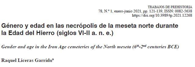 🥳 🥳 Nuevo artículo en #TrabajosdePrehistoria sobre #género y edad en las necrópolis de la meseta norte en la Edad del Hierro!! #arqueología  Disponible on-line 👇🏾👇🏾 https://t.co/Lw1ci1XULP https://t.co/CJZF2tz2dZ