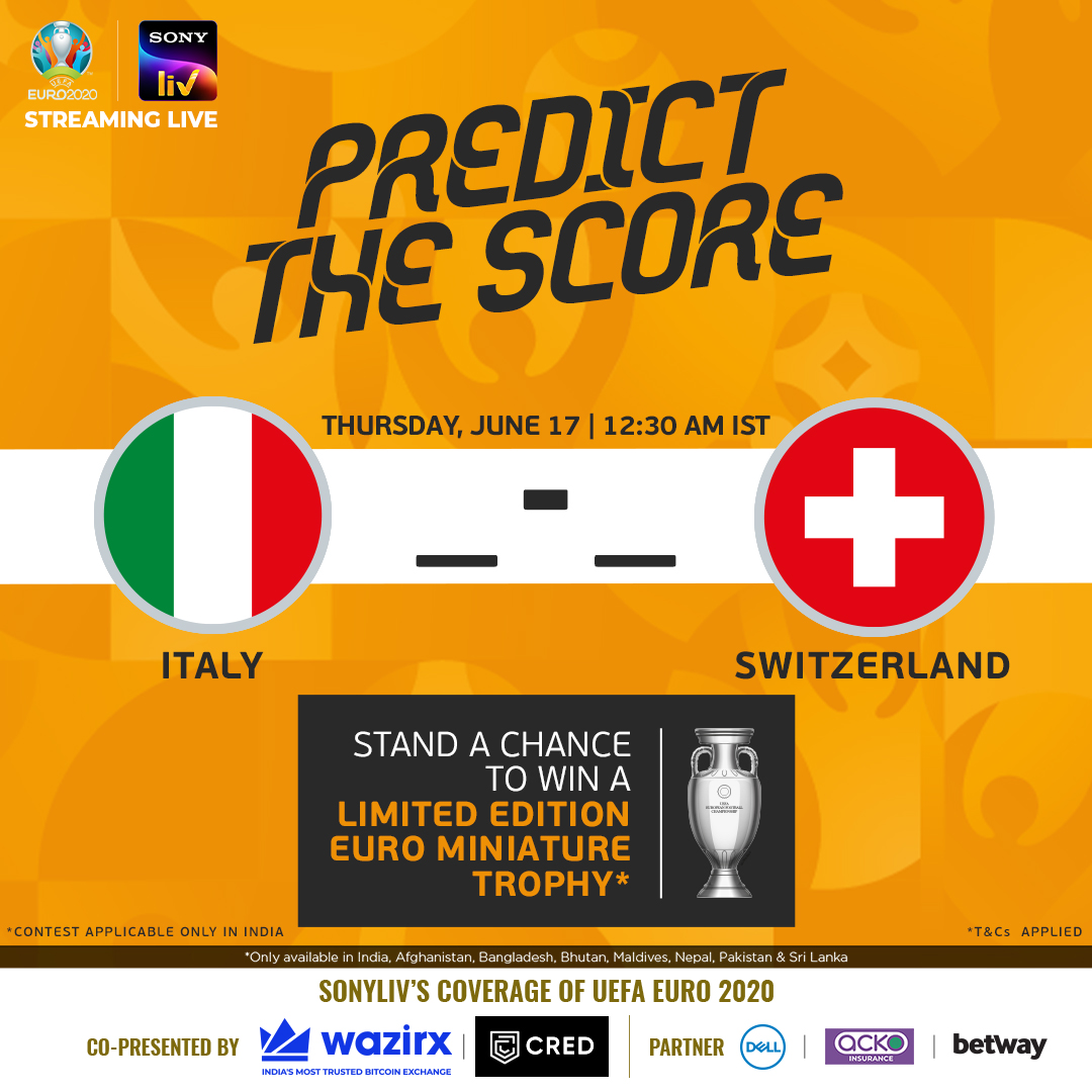 Italy are on 🔥, while Switzerland are hoping to capture their first #EURO2020 win!  How many goals will be witnessed in #ITASUI?   🇮🇹 _ - _ 🇨🇭  *T&Cs: https://t.co/owGstHzq9K  #WaitIsOver #Euro2020onSonyLIV https://t.co/xR8gBH63Lb