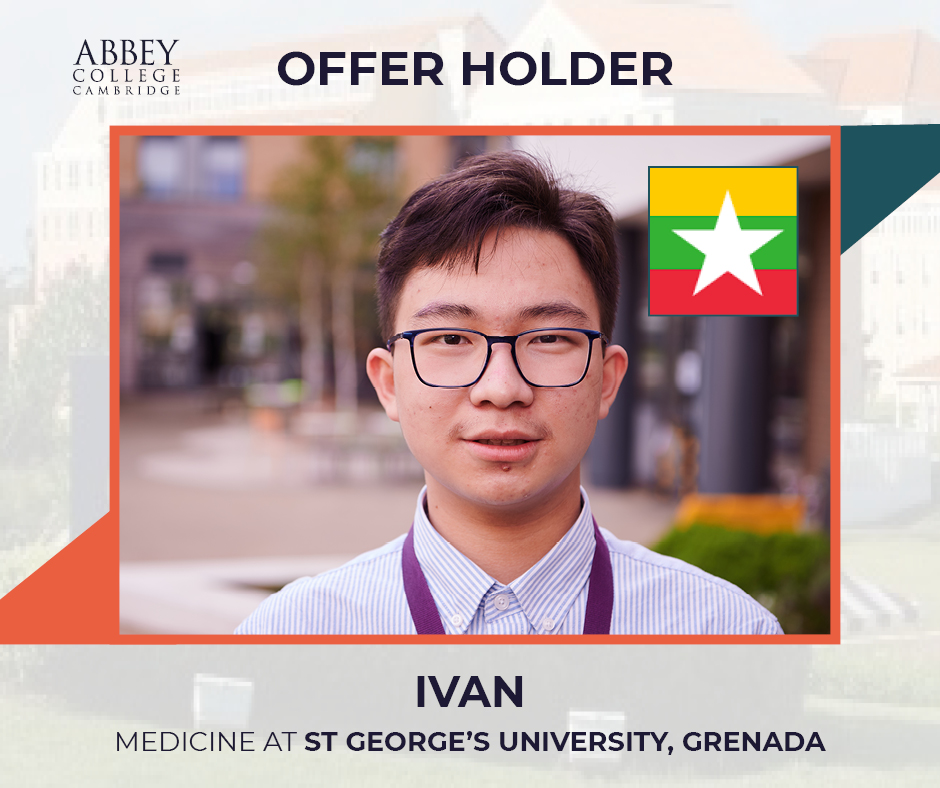 Many congratulations to Ivan from Myanmar who has been studying our IFP Biomedicine programme and has been offered a place to study medicine at St George's University, Grenada.  Well done Ivan. #medicine #Cambridge #studyincambridge #studymedicine https://t.co/Fuv4RIKbgV