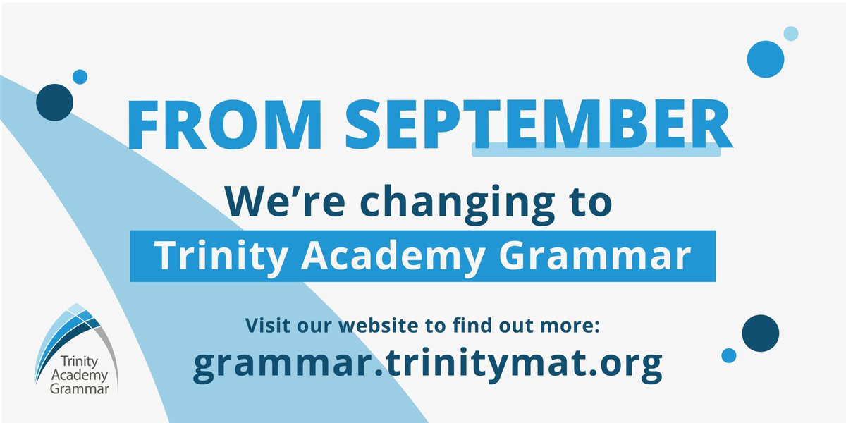 RT @TrinityAcademyS Exciting news! From September, we will become Trinity Academy Grammar. It's more than a change of name. We want to reflect our heritage and build on our outstanding achievements and progress so far in becoming the most transformational school in England. https://t.co/xBPqva8Eji