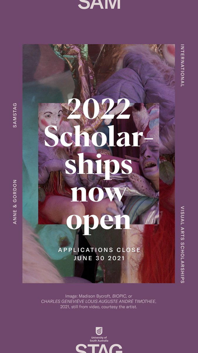 Three weeks to go! Get started on an application for a Samstag scholarship today. It could change your life. https://t.co/KjodqBxKD1 @UniversitySA #samstagscholar #samstagscholarship #study #visualart https://t.co/zjLwoJuZ3Y