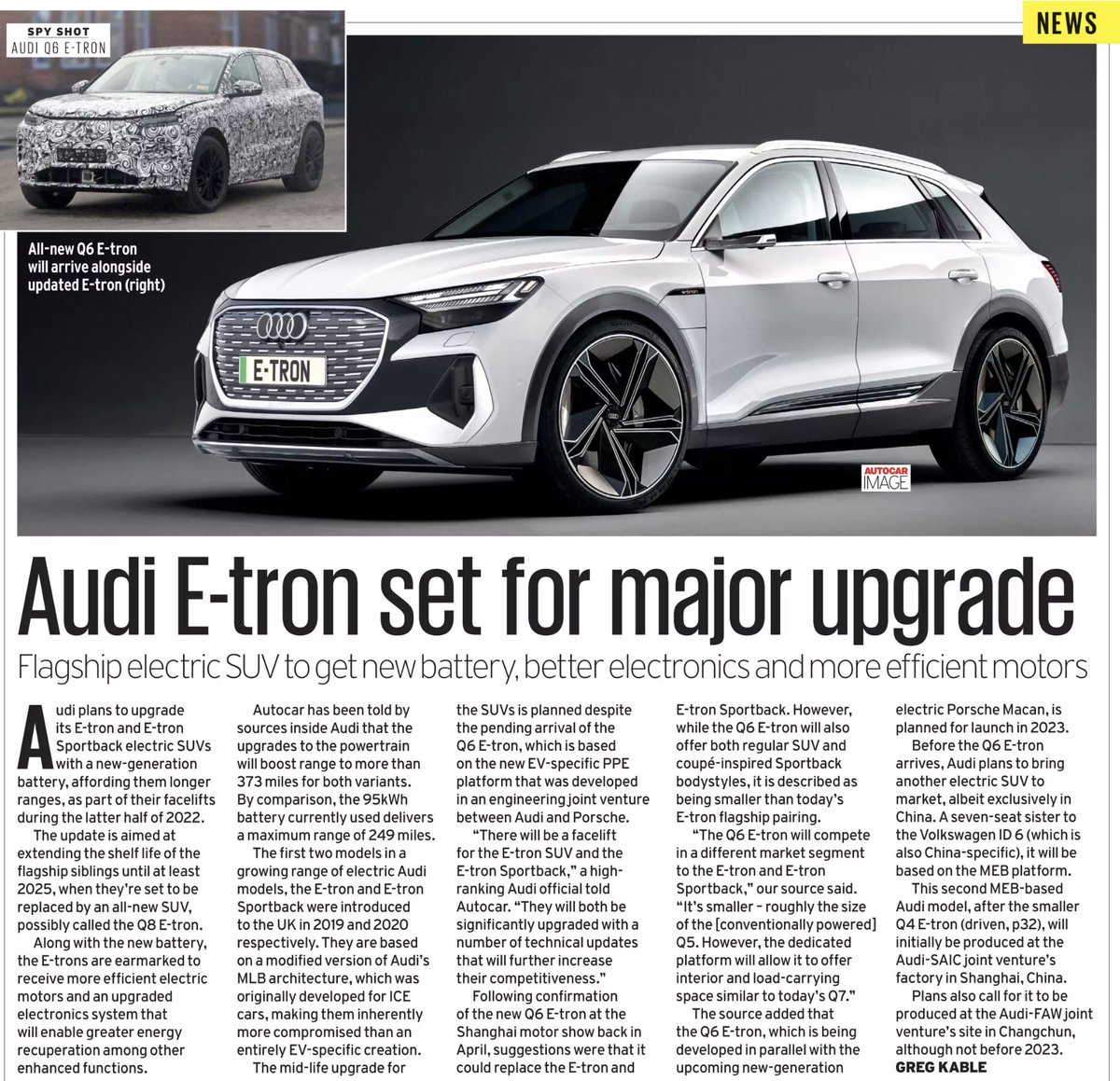 Audi's e-tron looks likely to be overshadowed by the new Audi Q4 e-tron that is has better range, is much lighter, more efficient, less expensive & nearly as spacious Now it seems this behemoth is scheduled for a range upgrade next yr to keep it relevant