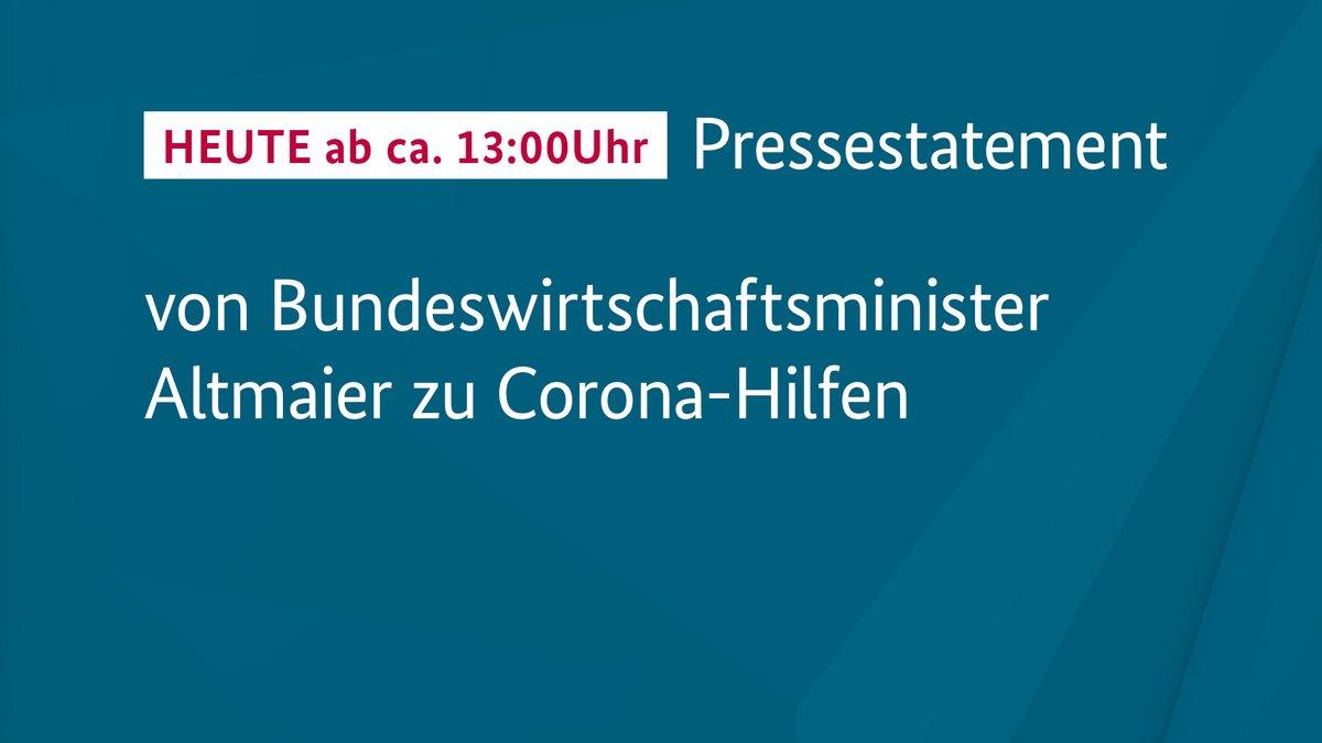 RT @BMWi_Bund: 🎥 Ab ca. 13:00 Uhr im #Livestream: #Pressestatement von Bundeswirtschaftsminister @peteraltmaier zu #Coronahilfen #Überbrück…