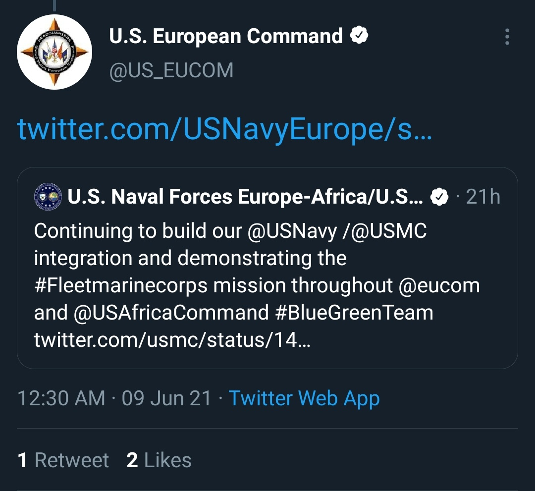 Continuing to build our @USNavy /@USMC integration and demonstrating the #Fleetmarinecorps mission throughout @eucom and @USAfricaCommand #BlueGreenTeam https://t.co/3lPShtmTuz