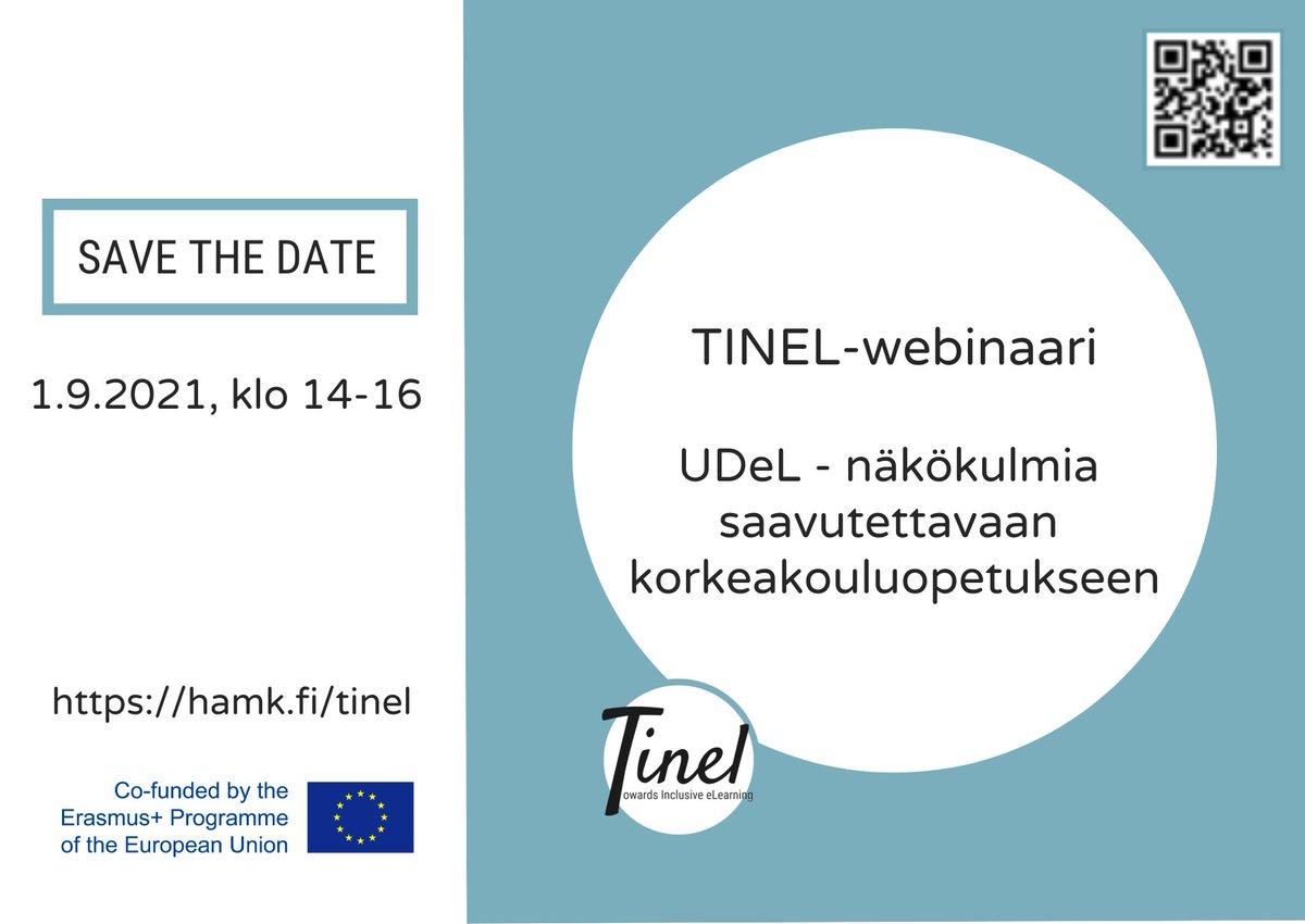 #TINEL-hankkeessa on kahden vuoden ajan kehitetty käytänteitä, työkaluja ja koulutusmallia opiskelijoiden erilaisuuden huomioimiseksi kaikille soveltuvan digitaalisen opetuksen suunnittelun näkökulmasta (Universal Design for eLearning #UDeL). Webinaari syyskuussa, save the date!