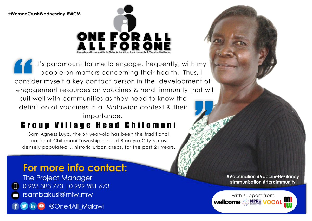🥰It's #WomanCrushWednesday. Today our #WCW is GVH Chilomoni, a co-creator of engagement resources on #Vaccines & #HerdImmunity. Read & Share💊💉 @wellcometrust @NIHR_MPRU @letsgetvocal @MlwTrust @bellastarling @MalawiUNICEF @WHOMalawi @MalawiGovt @undpmalawi https://t.co/h1rkaWWHOt