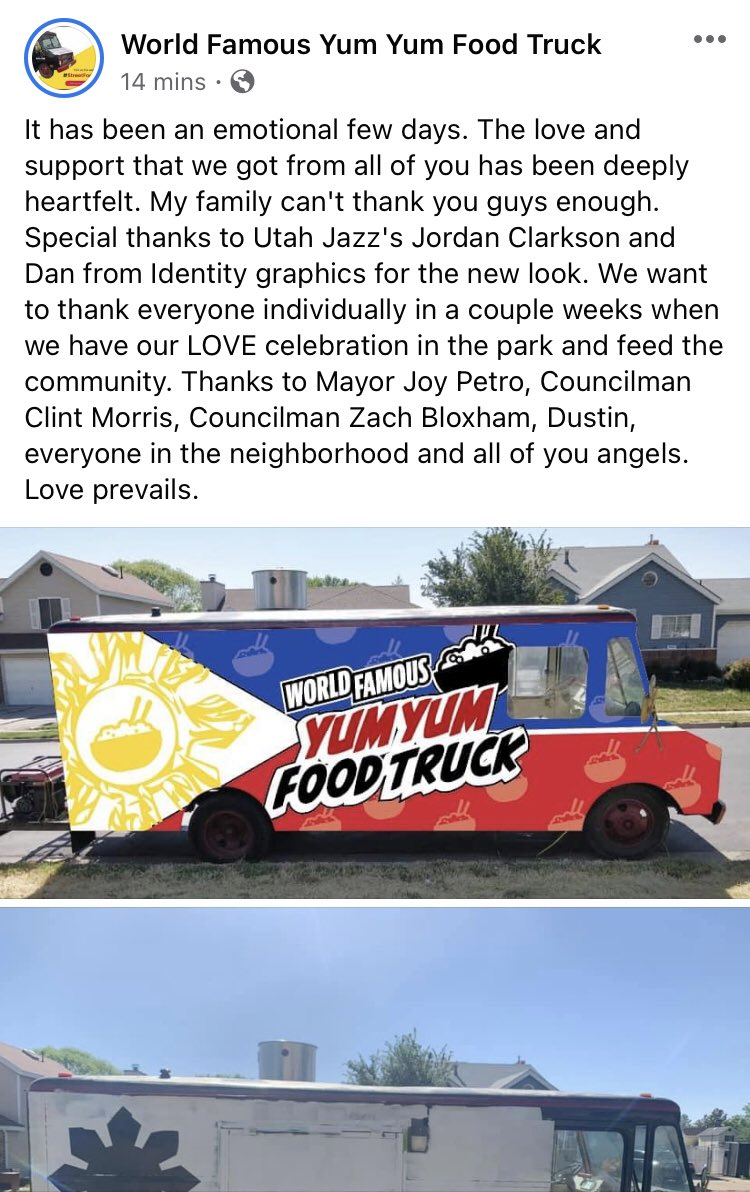 The @YumYumAsian food truck got an assist from @JordanClarksons ...  #TakeNote #SpeakUpandDribble #StopAsianHate https://t.co/OmJyXuaOKm