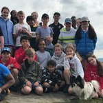 Year 7 looking rather exhausted on top of a peak in the Peak District, with Belle the E3 Adventures dog #copthorneprep #schooltrip