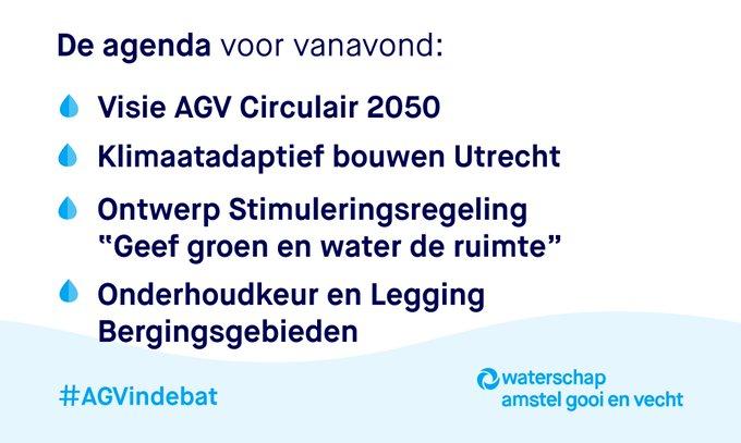 Vanavond vergadert @waterschapagv weer online     #AGVindebat  Live meekijken vanaf 20:00 uur? 📽️👉 https://t.co/LEeQONIbgY  Het gaat onder andere over... 👇
