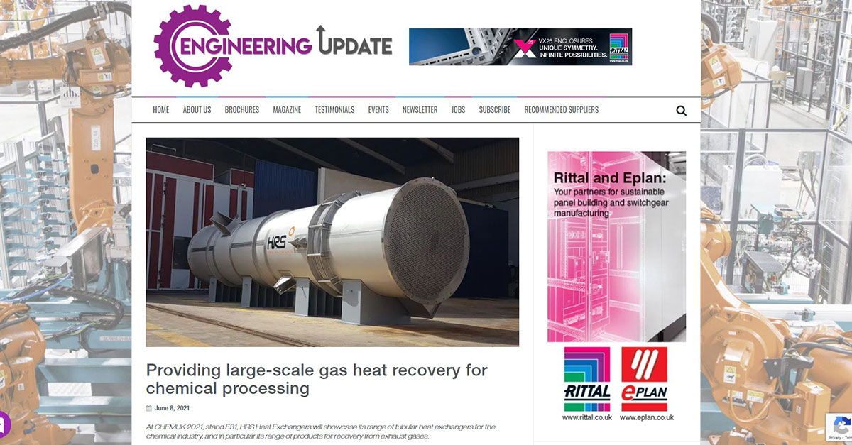 """test Twitter Media - HRS is featured in @Engupdate: """"Providing Large-scale Gas Heat Recovery for Chemical Processing"""" - HRS had supplied a large K Series gas cooling #heatexchanger to a Belgian chemical plant. Read more: https://t.co/iIwYXzyalO #chemicalprocessing #heatrecovery https://t.co/fBLivUhKDf"""