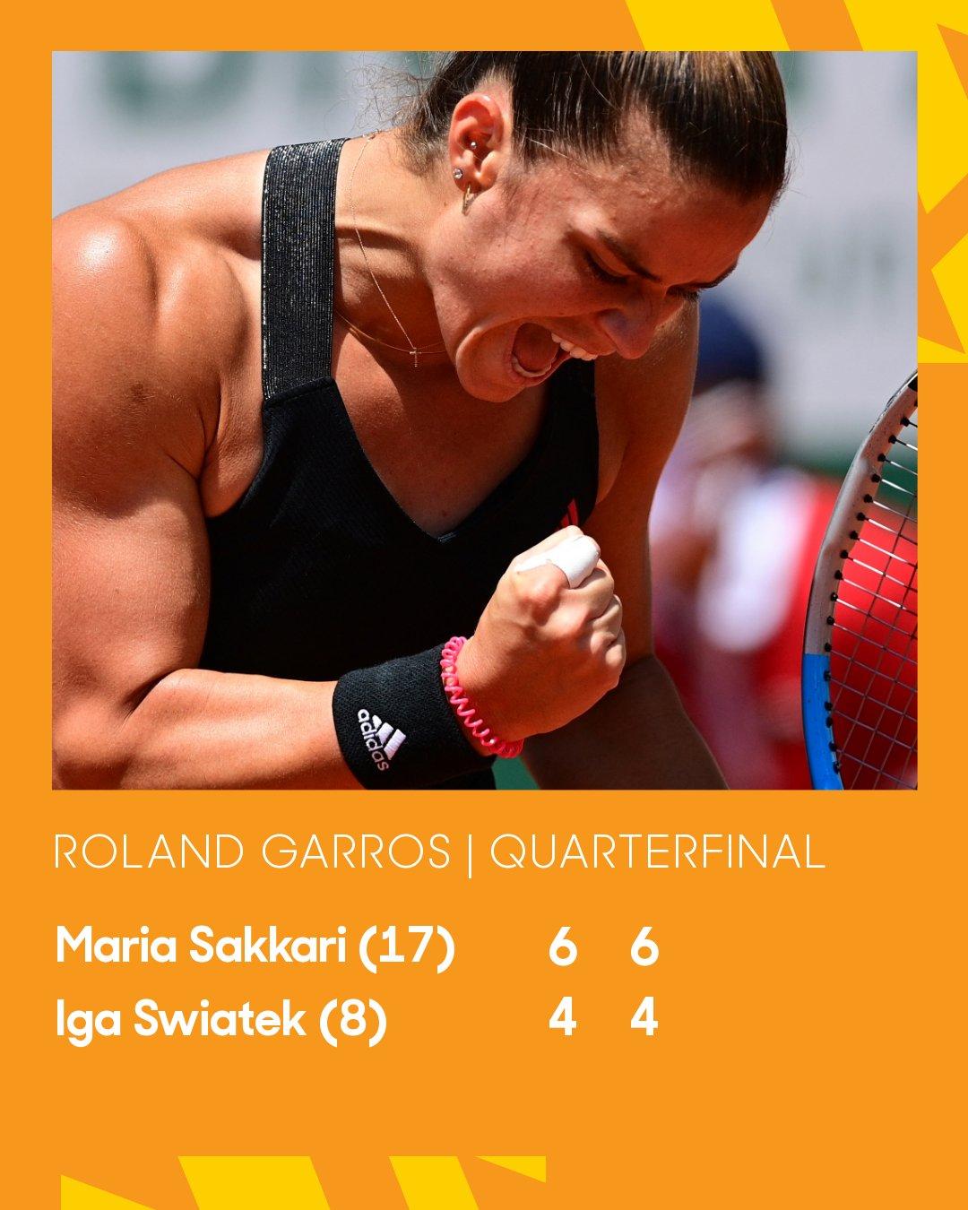 Greece's Maria Sakkari reacts during her women's singles quarter-final tennis match against Poland's Iga Swiatekon Day 11 of The Roland Garros 2021 French Open tennis tournament in Paris on June 9, 2021.