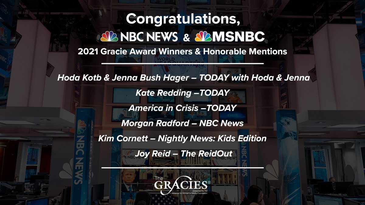 We are proud to share @NBCNews and @MSNBC's Gracie Award wins & honorable mentions from @AllWomeninMedia. #TheGracies