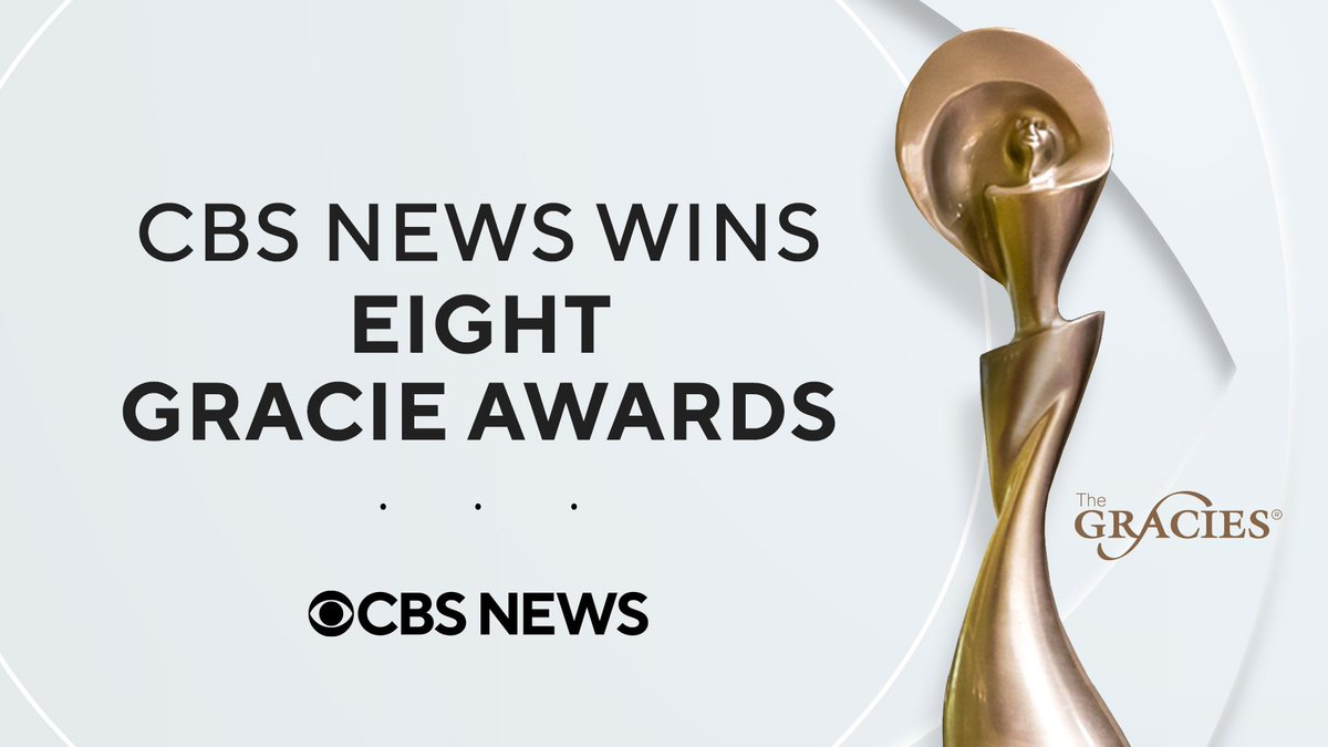 We're pleased to share @CBSNews won eight #TheGracies awards from @AllWomeninMedia.  More on the award-winning CBS News entries here: bit.ly/3550Gfm