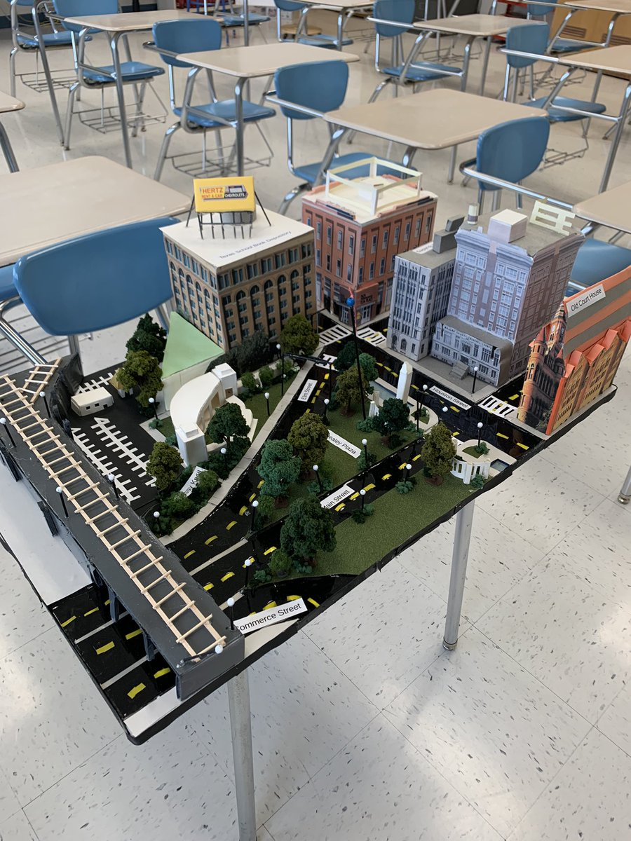 Today, Caleb Clary and Aubryn Neubert are teaching their AP US History class about the Kennedy assassination and all of the conspiracy theories associated with the event. They made this fantastic model of Dealey Plaza in Dallas. The FBI created one as well. Great work!! https://t.co/0VHwyZ7JgA