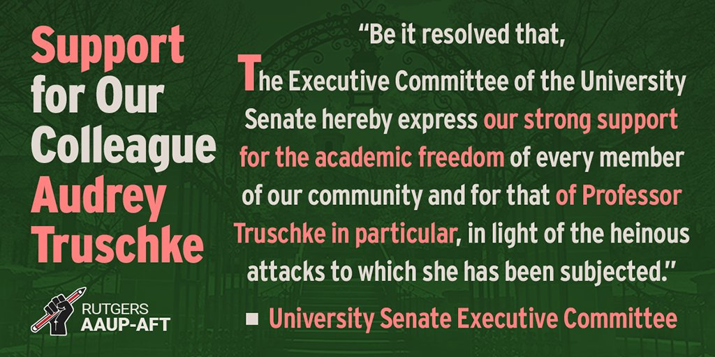 University Senate Executive Committee Resolution of Support for Our Colleague Audrey Truschke: https://t.co/CIJMSOM0s0