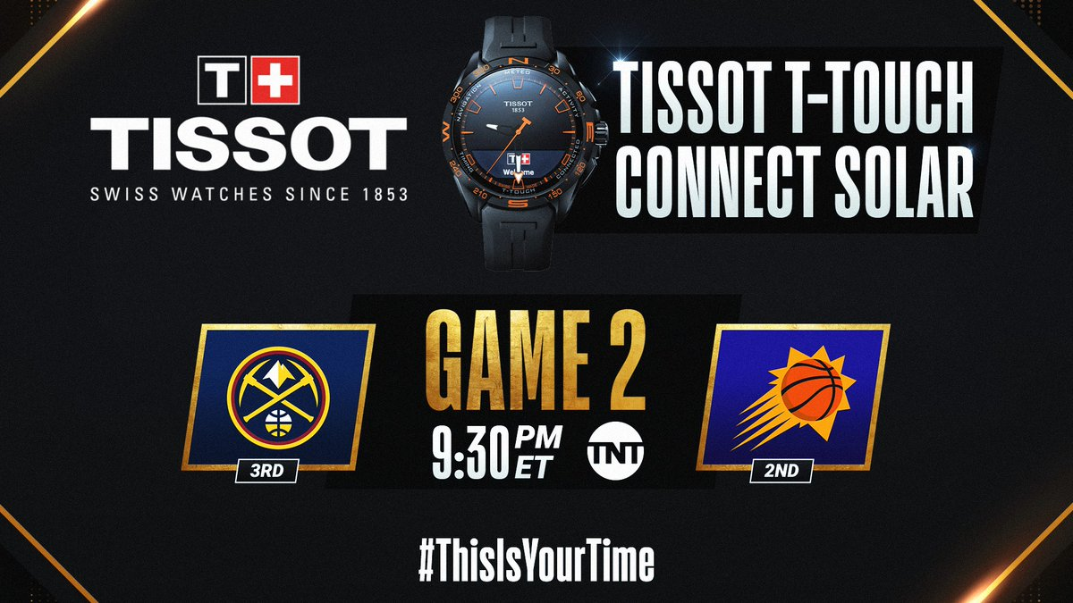 The #NBAPlayoffs continue tonight with Nuggets/Suns Game 2 at 9:30pm/et on TNT! #ThisIsYourTime     🛒 Shop @TISSOT Here: https://t.co/IBgyQ4VIdS https://t.co/chh4lEh5lh