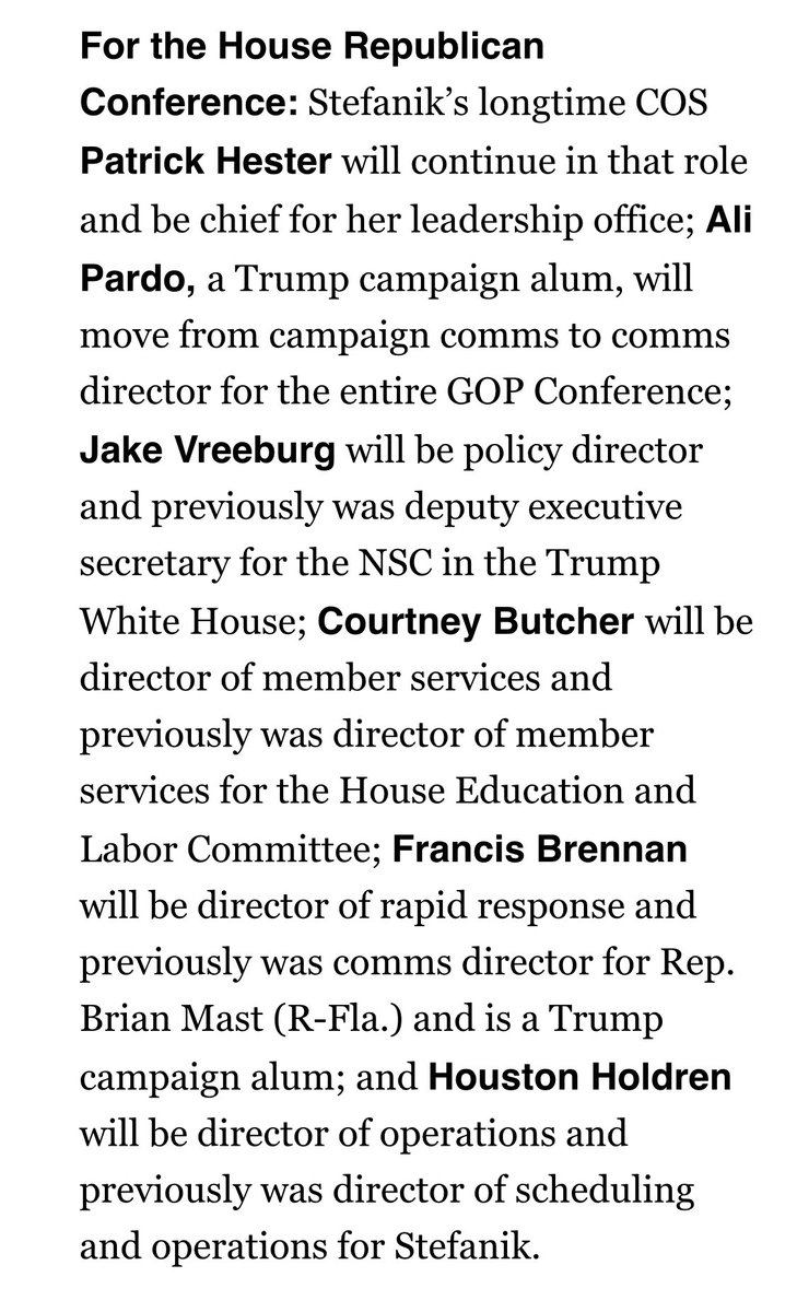 Hill friends, meet your new @HouseGOP leadership team ⬇️  And our growing comms team @FrancisBrennan @CharyssaParent @_mschellin @JoelGibbons9 🇺🇸    Extremely excited about this next chapter with Team @EliseStefanik! https://t.co/yo9K7j5on0