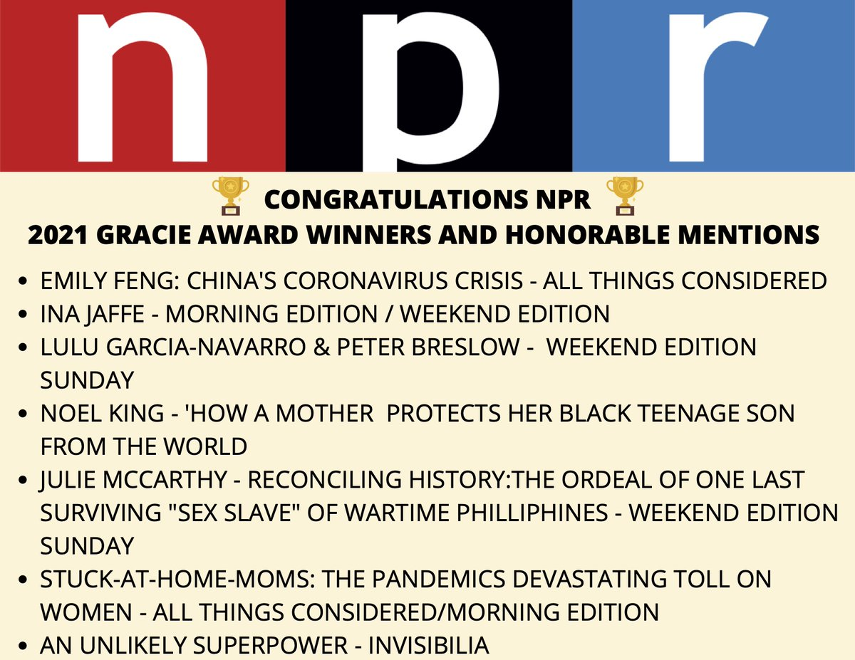 Congratulations to all SIX winners of the Gracie Awards and Honorable Mentions from @NPR! Thank you @allwomeninmedia #TheGracies