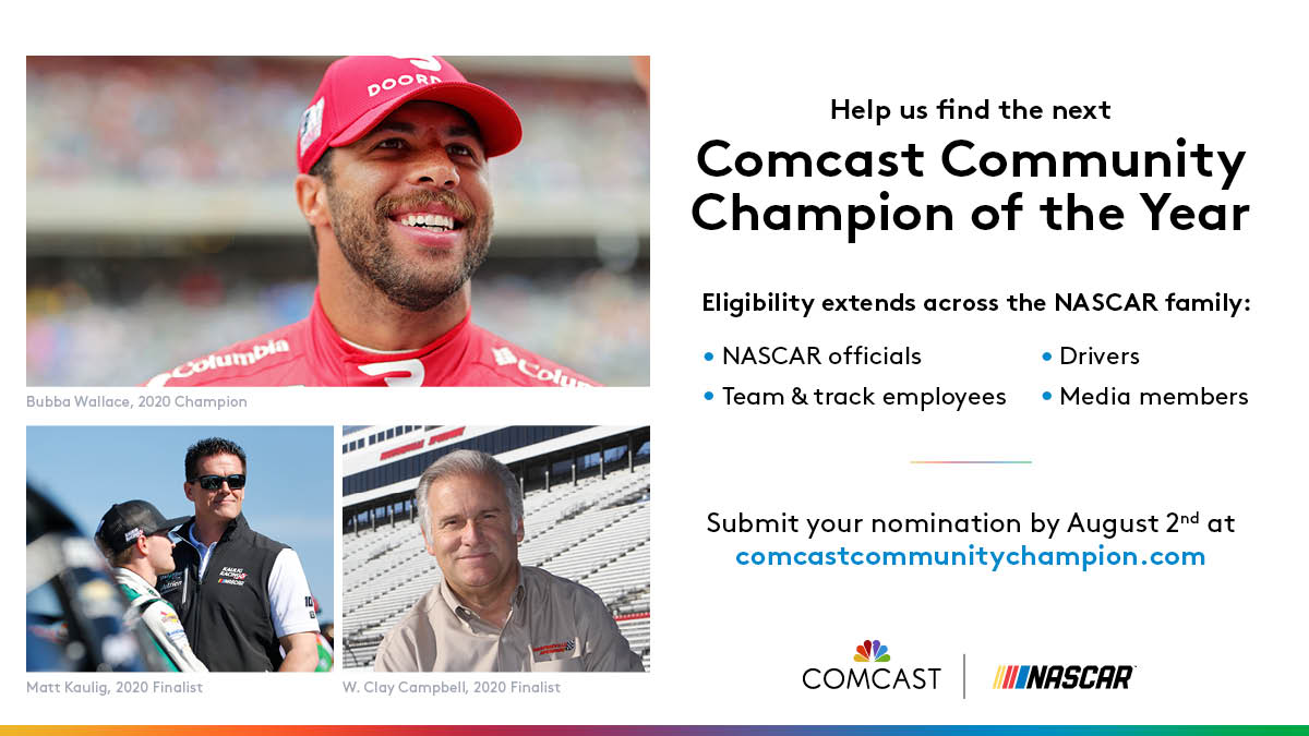 One of our favorite parts of the #NASCAR year.  Nominations are now open for the 2021 Comcast Community Champion! Know someone that's made a difference in the @NASCAR community? Nominate now >> https://t.co/P4rfdGx2RP https://t.co/wVA5TTE56S