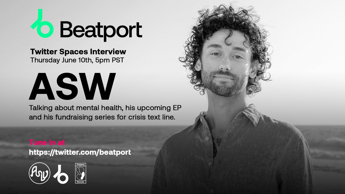 Singer-songwriter-producer @asinglewave  speaks with @jlmafi about his experience with bipolar disorder, fundraising series for @CrisisTextLine and more. Join the conversation on Beatport Twitter Spaces.  Thursday June 10th, 5pm PST.  Set your reminders: https://t.co/15kjcXVG0f https://t.co/OPbJGO6ewG