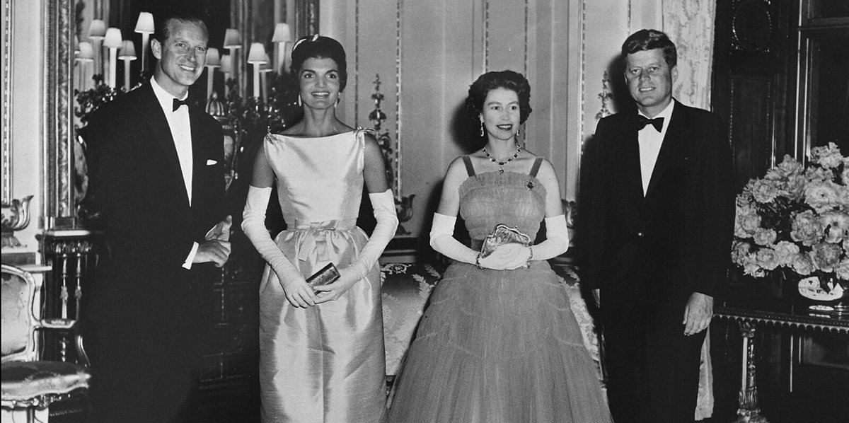 """Sixty years ago this week, JFK and Jackie in London with Queen Elizabeth II and Duke of Edinburgh.  Almost nothing in the episode of """"The Crown"""" depicting this visit actually happened in real life. https://t.co/PLBaHzxW6R"""