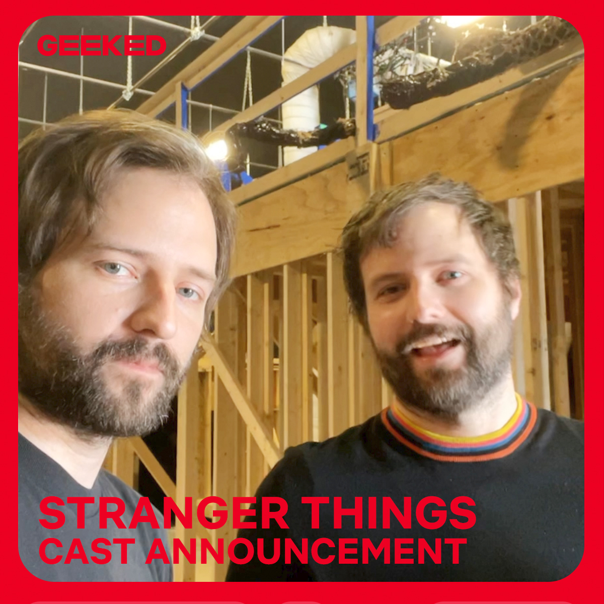 all aboard! the Duffer Brothers are here with special news that they want to personally share with you. @stranger_things #GeekedWeek https://t.co/TVheNMqgUl