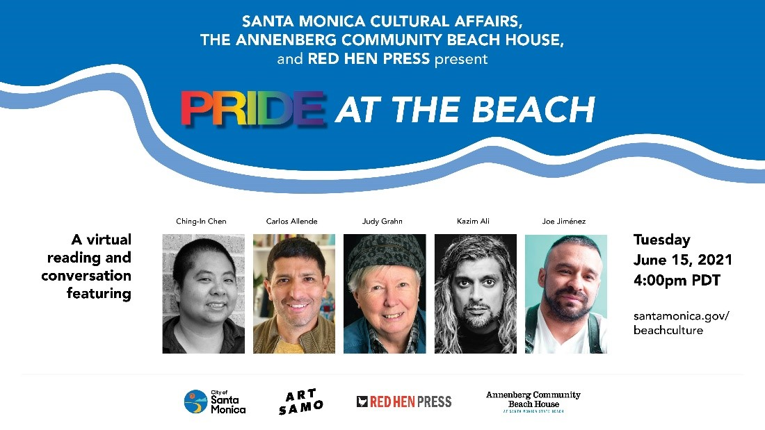 🏳️🌈 Join us for virtual PRIDE at the Beach, Tuesday 6/15 at 4pm PDT w/ @RedHenPress!  The event will be live-streamed at  https://t.co/4pLGvjiLZ2, and the recording viewable soon after. #ArtSaMo #BeachHouseBliss  For more @santamonicacity #PRIDE happenings: https://t.co/jl3i9o67yW https://t.co/fCWQQpT8e9