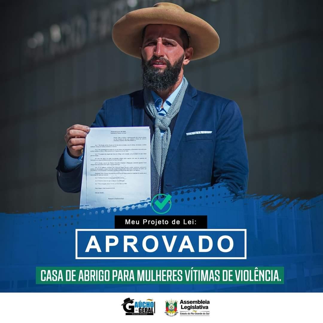 Parabéns deputado @gauchodageral pela aprovação do projeto. Defendo uma casa de acolhimento em Canguçu. Importante @Pegoraro15 https://t.co/zt5aBbek2b