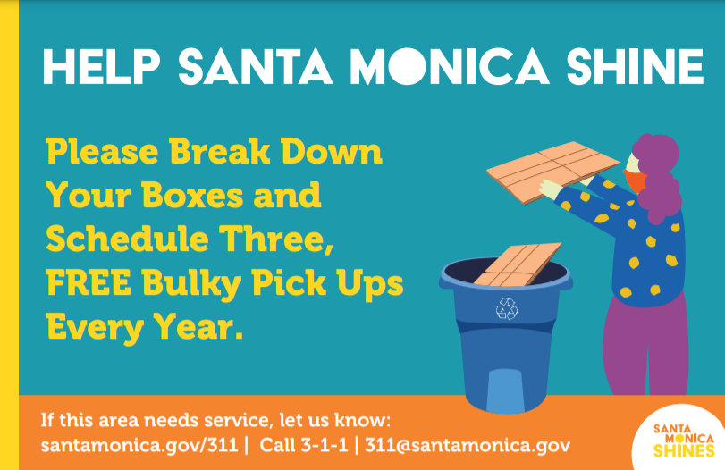 Do your part and always break down boxes. Remember you can schedule three FREE bulky item pickups every year. Together we can make Santa Monica shine!   #SantaMoniCARES #WeAreSantaMonica #SantaMonicaShines https://t.co/qgLllGxEkl