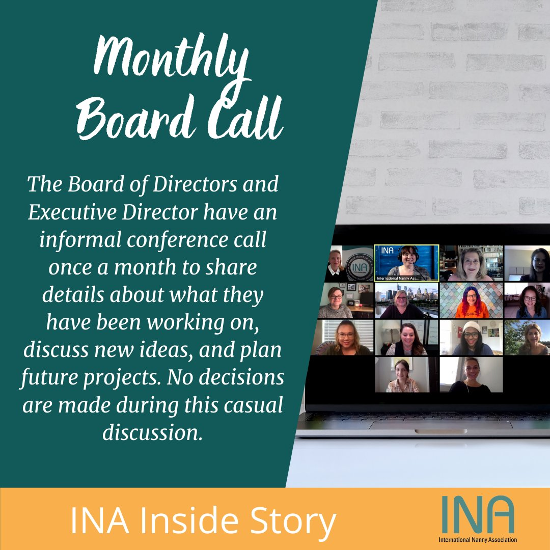 INA Inside Story Monthly Board Call The Board of Directors and Executive Director have an informal conference call once a month to share details about what they have been working on, discuss new ideas, and plan future projects. No decisions are made during this casual discussion. https://t.co/HSxRiygenr