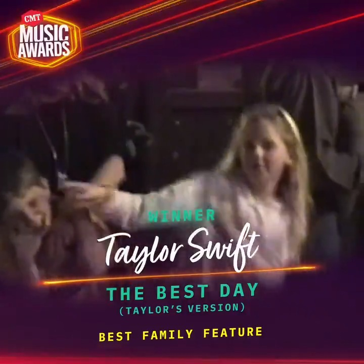 """Congratulations @taylorswift13 on winning Best Family Feature for """"The Best Day (Taylor's Version)"""" 👪  #CMTAwards https://t.co/FVzEW3G3MQ"""