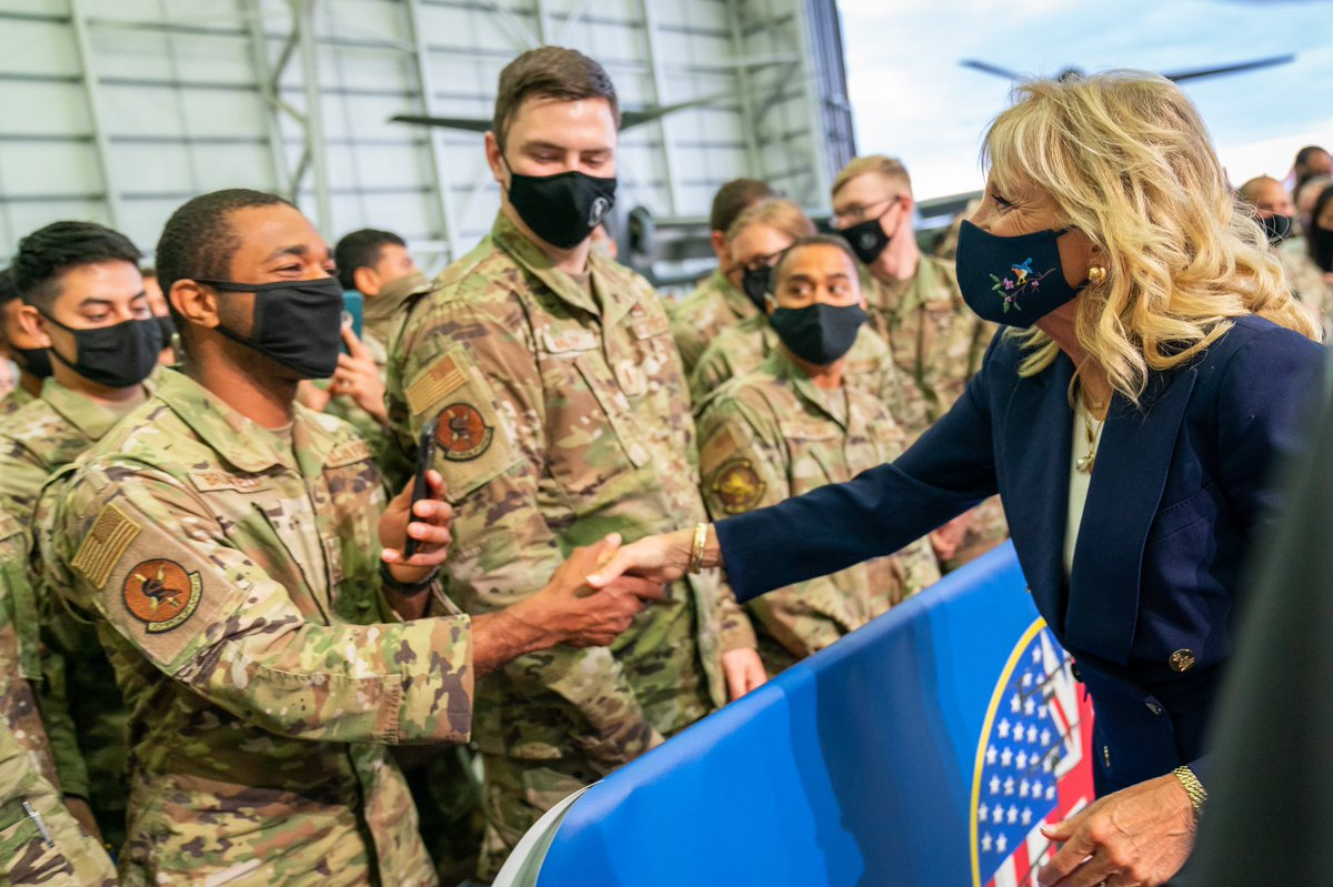 From those who have served over 20 years, to the youngest military kids in this crowd – you're our ambassadors to the world. Thank you for representing us with integrity and pride. @RAFMildenhall, we're grateful for the warm welcome as we begin our first official overseas trip! https://t.co/Dx8Hl0Vsjr