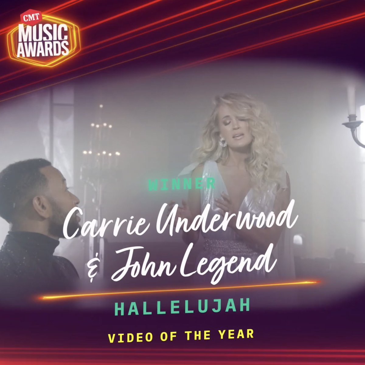 """VIDEO OF THE YEAR goes to @carrieunderwood and @johnlegend for """"Hallelujah"""" #CMTAwards 📹 https://t.co/1eig4JDRQY"""