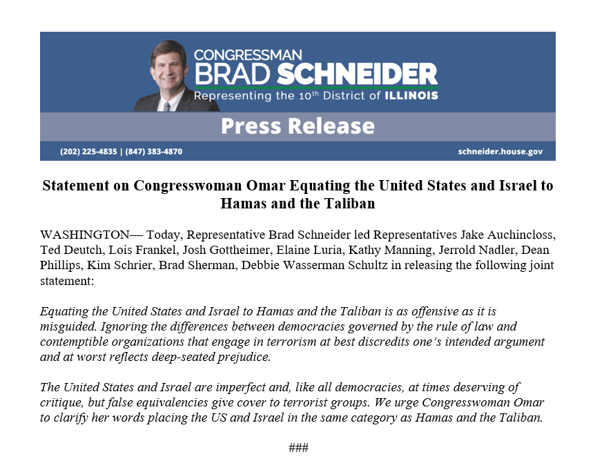@RepSchneider's photo on US and Israel