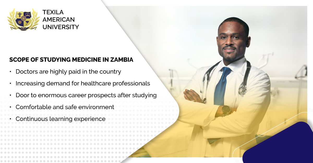 Upon understanding the shortage and pressing need of doctors in Zambia, students are encouraged to take up an MBChB degree. Here're some of the advantages of becoming a doctor in Zambia!  #StudyMedicine #MBChB #Doctors #Zambia #EduTransformation #TexilaAmericanUniversity https://t.co/ULYjoKtZ0Q