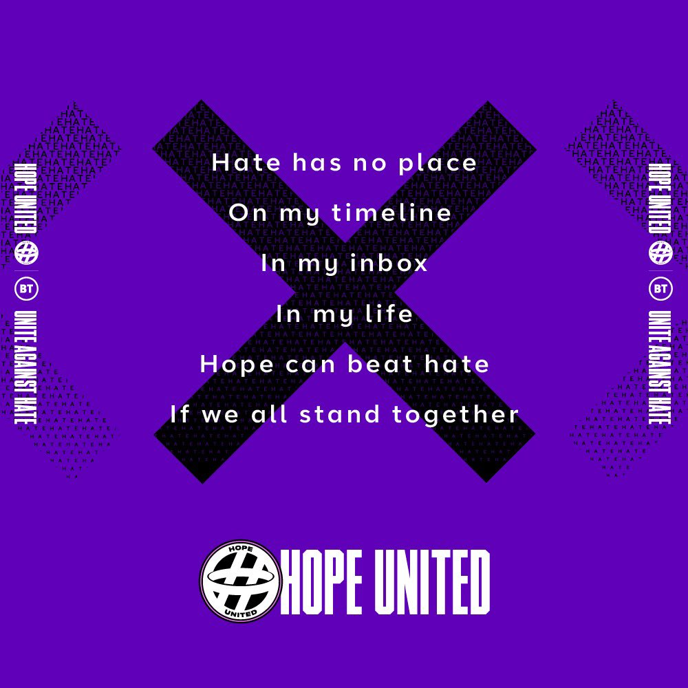 Press against online hate. Share with your followers and help build our team. #HopeUnited