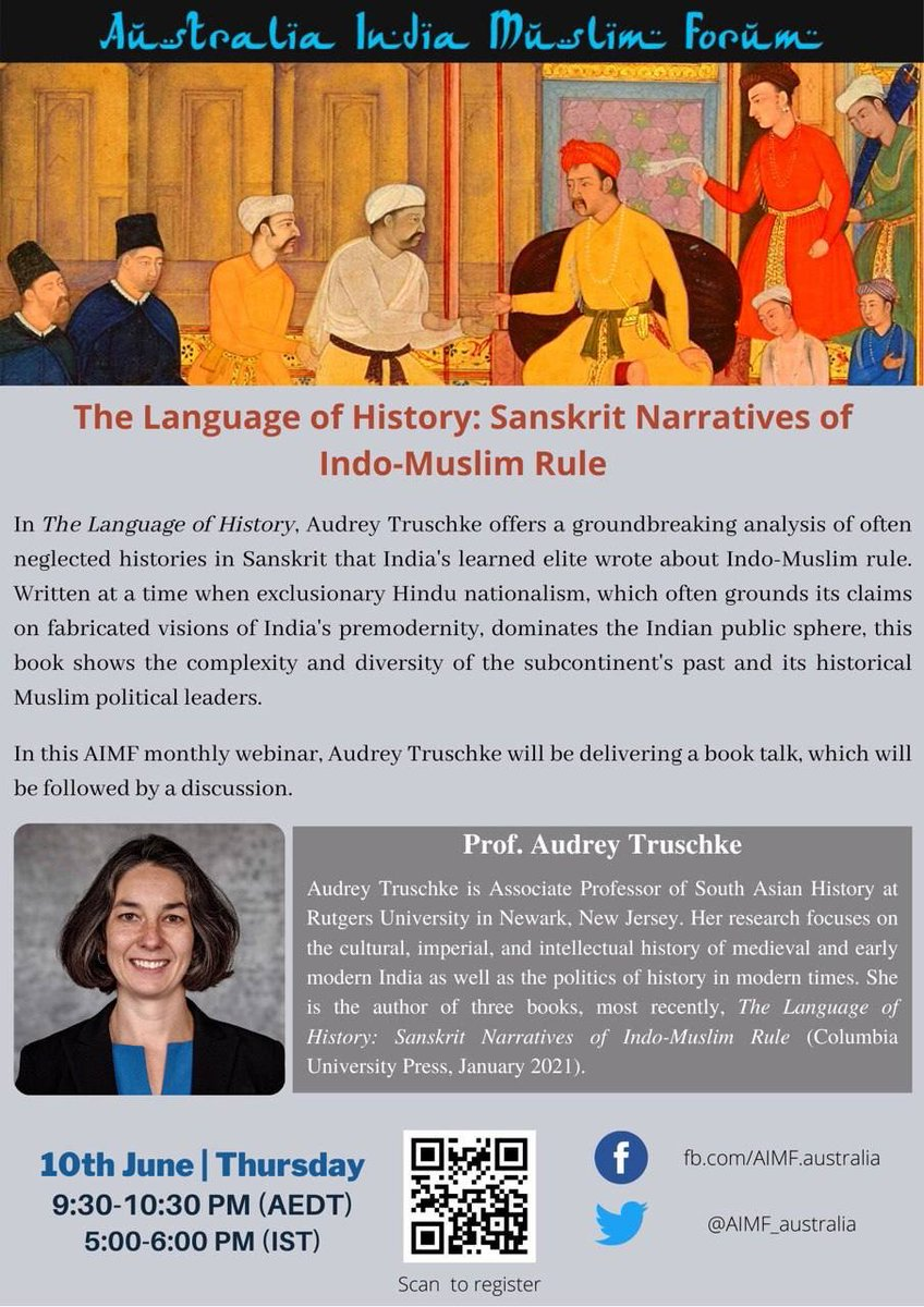 Happening today, June 10, 7:30 a.m. EST / 5 p.m. IST / 9:30 p.m. AEDT  Join us if you're interested in hearing a bit about my most recent book, on Sanskrit histories and views on Indo-Persian rule.  https://t.co/uKCsgktSYO https://t.co/YHf30zk0Hn