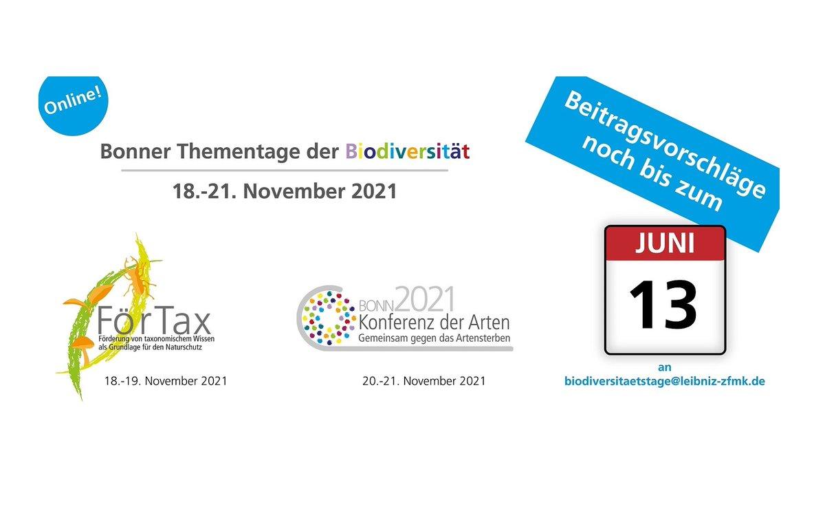 #FörTaxCon: Beitragstitel und Kurzbeschreibung noch bis Sonntag an biodiversitaetstage@leibni-zfmk.de!