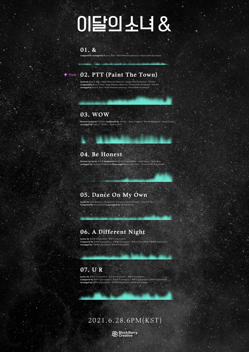 LOOПΔ 4th Mini Album [&] 2021.6.28 pm6 (KST) Release 01 & 02 PTT (Paint The Town) 03 WOW 04 Be Honest 05 Dance On My Own 06 A Different Night 07 U R #이달의소녀 #LOONA #AND #PTT #PaintTheTown LOOΠΔ loonatheworld.com