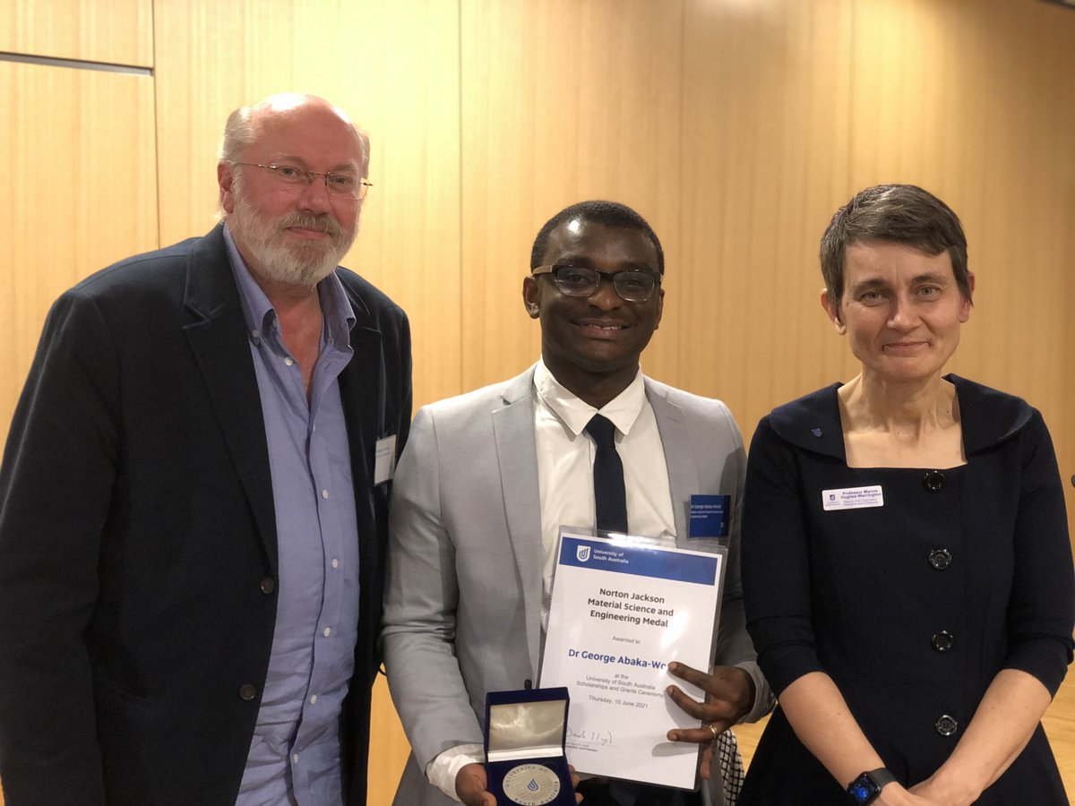 What a delightful evening! We're at the @UniversitySA scholarships evening—2 of 4—and it is wonderful to congratulate Dr Abaka-Wood for being awarded the Norton Jackson Science and a Engineering Medal! @UniSAFII @BillSkinnerAu https://t.co/J170QsFn0q