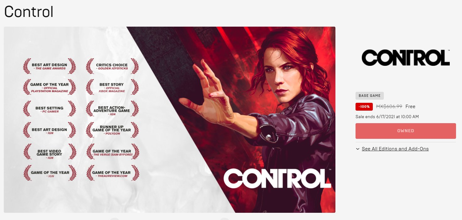 Control free Remedy Entertainment Epic Games