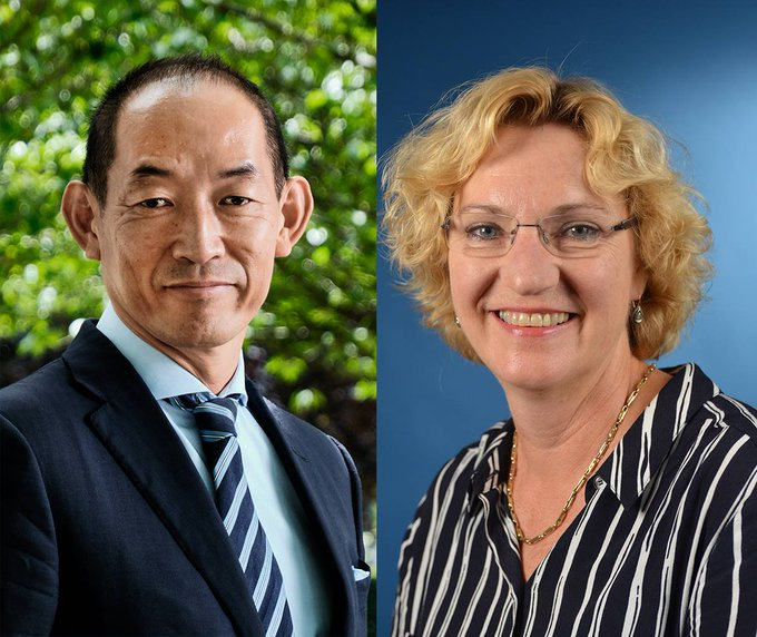 Portrait photos of Dr Takeshi Kasai, WHO Regional Director for the Western Pacific and Karin Hulshof, Regional Director for UNICEF East Asia & Pacific.