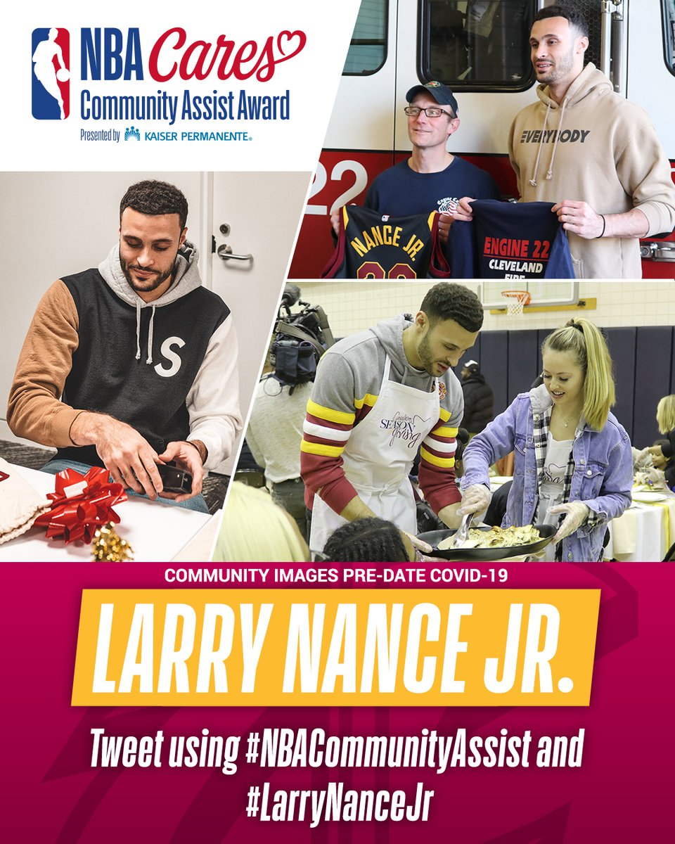 .@Larrydn22 of the @cavs has been nominated for the Seasonlong NBA Cares Community Assist Award pres. by @kpthrive!   To vote for Larry, retweet this post, or post with #NBACommunityAssist + #LarryNanceJr https://t.co/0lsYqlUvTE