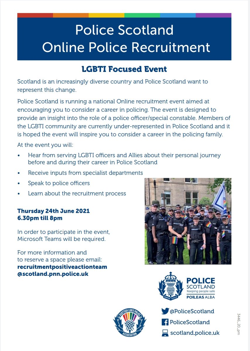 Considering a career with @policescotland and want to know more? An online LGBTI focused recruitment event is happening on June 24th.   To save your place or find out more email  recruitmentpositiveactionteam@scotland.pnn.police.uk  #Polis #DiversityMatters #NewCareer https://t.co/s0Vjm2nQKh
