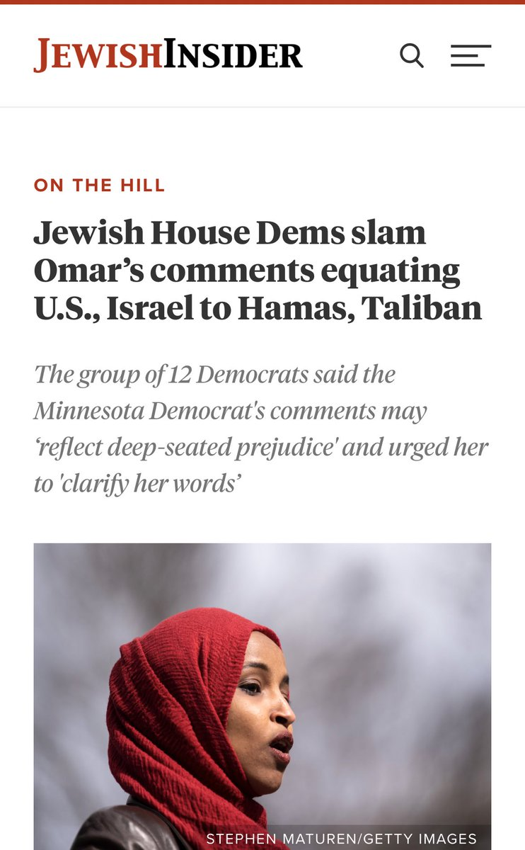This is important. But also: why are only Jewish Democratic members of Congress calling Omar out for (insanely, outrageously) comparing the United States and Israel to Hamas and the Taliban? Where's the rest of the Democratic Caucus? https://t.co/YeMhAkUPUC