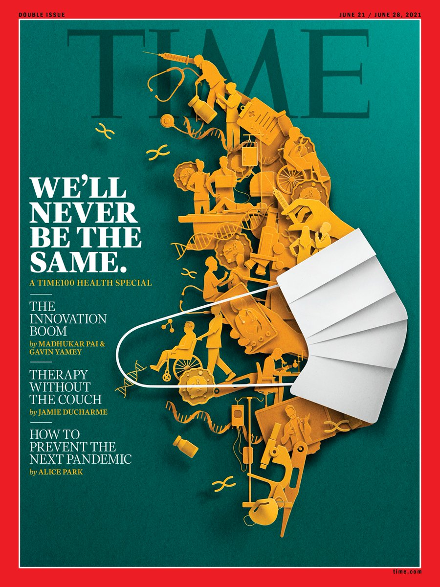 """Eiko Ojala, a wonderfully imaginative digital artist from Estonia, created a """"digital cut-paper"""" image for this week's @TIME cover on what we learned from the pandemic. Read the story """"A New Hope for Health Care"""" https://t.co/nXtAZCDMWW and subscribe at https://t.co/gk6gzCeyew https://t.co/J0XdVhW88W"""