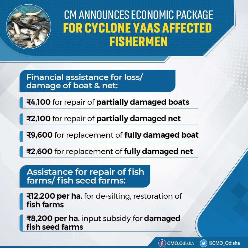 To restore livelihood of fishermen affected by #CycloneYaas, CM @Naveen_Odisha announced assistance for those who suffered loss/damage to fishing boats & nets. CM also announced assistance for de-silting, restoration of fish farms and input subsidy for damaged fish seed farms. https://t.co/CEwaeEp0Co