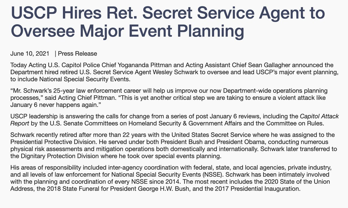 .@CapitolPolice announce they hired a 22-year veteran of the @SecretService to run their major event planning https://t.co/vlFeYsKZNG