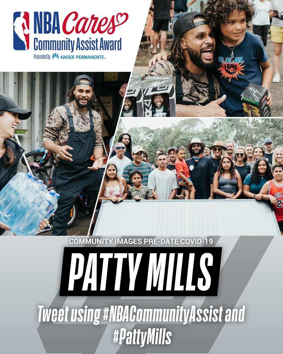 .@Patty_Mills of the @Spurs has been nominated for the Seasonlong NBA Cares Community Assist Award pres. by @kpthrive!   To vote for Patty, retweet this post, or post with #NBACommunityAssist + #PattyMills https://t.co/gMeNGaDQGU